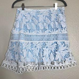 Impeccable Pig Blue & White Eyelet Skirt